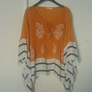 Anthropologie Floreat embroidered poncho top Sz.XL